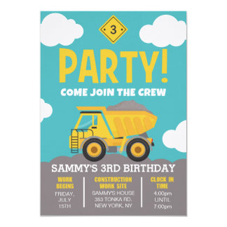 Construction Themed Party Invitation for Boy
