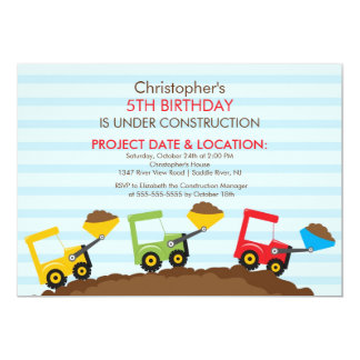 Construction trucks Birthday Party for boys 13 Cm X 18 Cm Invitation Card