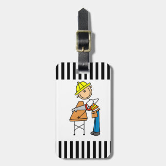 Construction Worker Sawing Lumber Gifts Tag For Bags