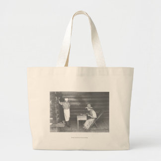 Cook watching a cowboy play cards 2 jumbo tote bag