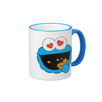 Cookie Smiling Face with Heart-Shaped Eyes Ringer Mug