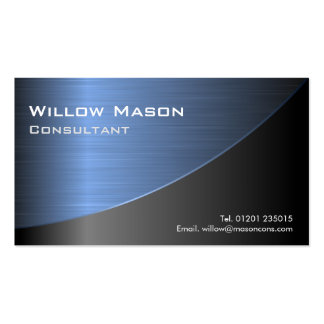 Cool Black Brushed Blue Steel Effect- Bus Card Pack Of Standard Business Cards
