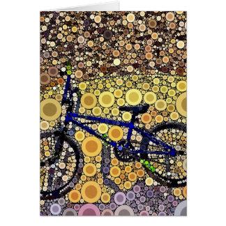 Cool Blue Bike Concentric Circle Mosaic Pattern Greeting Card