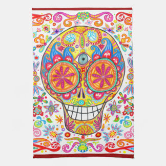 Cool Colorful Day of the Dead Art Kitchen Towel