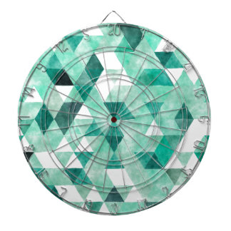 Cool Green Watercolor Triangle Pattern Dartboards
