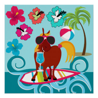 Cool Horse Surfer Dude Summer Fun Beach Party Poster