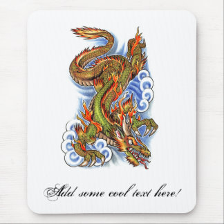 Cool Oriental Dragon and Clouds Mouse Pad