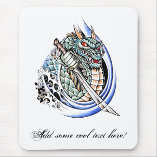 Cool Oriental Dragon with Sword tattoo Mouse Pad