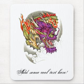 Cool Oriental Purple Dragon Tattoo Mouse Pad