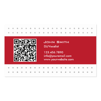 Cool QR Code Red Label DJ Music Business Card
