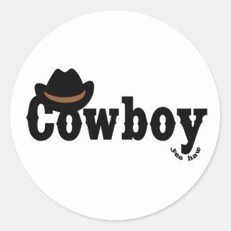 coowboy yeehaw round sticker