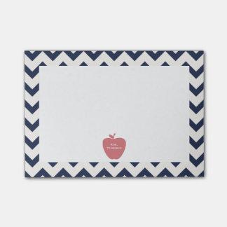 Coral Apple Navy Chevron Teacher Post-it® Notes
