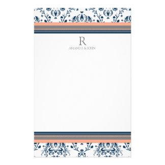 Coral Blue Gray White Wedding Monogram Stationery