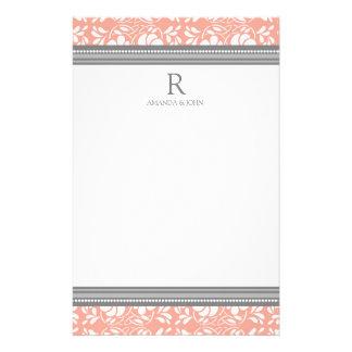 Coral Gray White Wedding Monogram Stationery