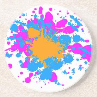 Corey Tiger 80s Retro Paint Splatter Sandstone Coaster