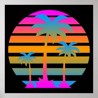 Corey Tiger 80s Retro Vintage  Palm Trees Sunset Poster