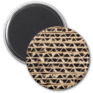 Corrugated cardboard texture 6 cm round magnet