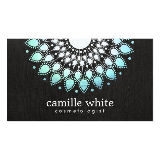 Cosmetology Elegant Circle Light Blue Black Linen Pack Of Standard Business Cards