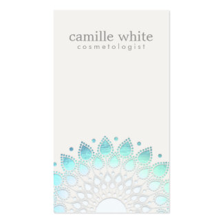 Cosmetology Elegant Circle Light Blue Off-White Pack Of Standard Business Cards