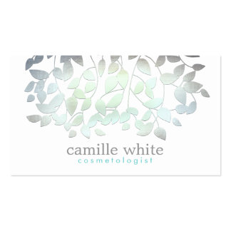 Cosmetology Faux Blue Green Foil Leaves White Pack Of Standard Business Cards