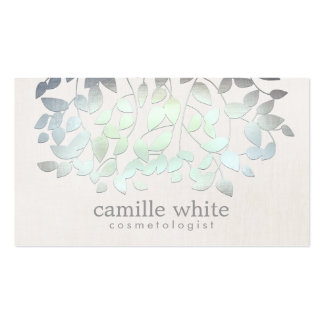 Cosmetology Spa Blue Green Leaves Linen Look Pack Of Standard Business Cards