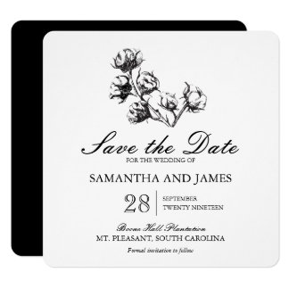 Cotton Plant Etching   Wedding Save the Date 13 Cm X 13 Cm Square Invitation Card