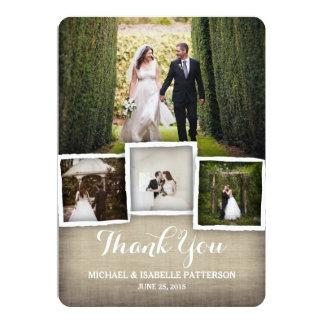 Country Burlap Wedding Photo Thank You Card 13 Cm X 18 Cm Invitation Card