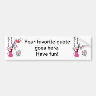 country kitchen - silverware on floral. bumper sticker