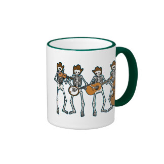 Country Music Playing Skeletons Ringer Mug