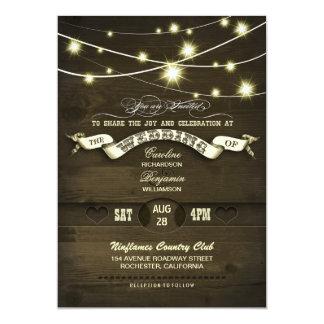 country rustic string lights wood wedding 13 cm x 18 cm invitation card