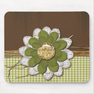 Country Scrapbook Flower Mouse Pad
