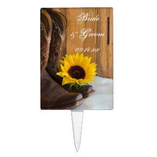 Country Sunflower Western Wedding Cake Pick