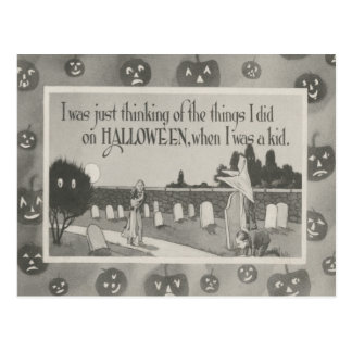 Couple Cemetery Graveyard Ghost Prank Postcard