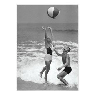 Couple Playing with a Beachball 13 Cm X 18 Cm Invitation Card