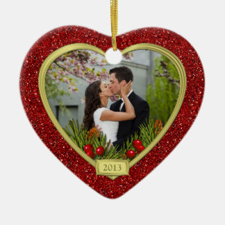 Couple's First Christmas Together Photo Christmas Ceramic Heart Decoration