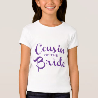 Cousin of Bride Purple on White T-shirt