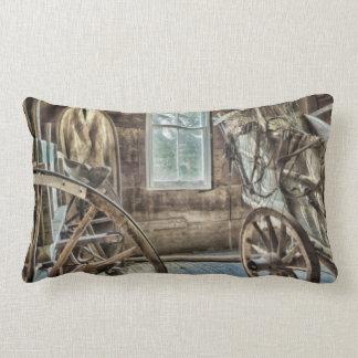 Covered wagon, wooden wagon wheel cushion