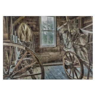 Covered wagon, wooden wagon wheel cutting board