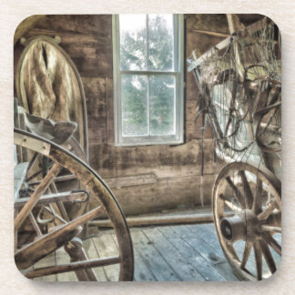 Covered wagon, wooden wagon wheel drink coasters