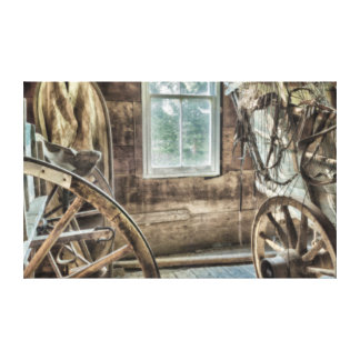 Covered wagon, wooden wagon wheel gallery wrap canvas