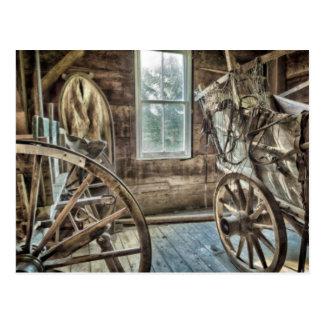 Covered wagon, wooden wagon wheel postcard