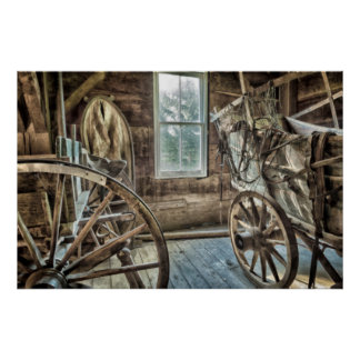 Covered wagon, wooden wagon wheel poster