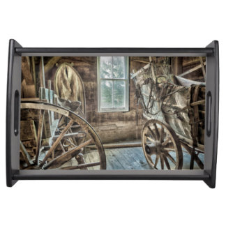 Covered wagon, wooden wagon wheel serving trays