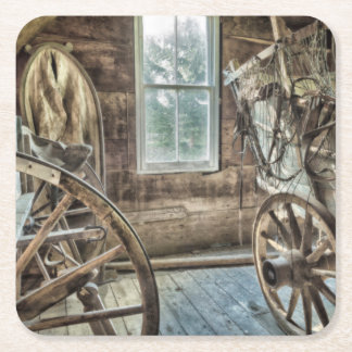 Covered wagon, wooden wagon wheel square paper coaster