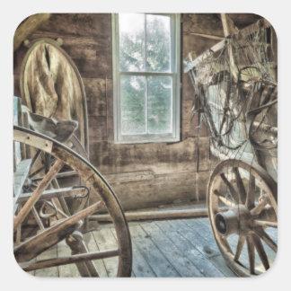 Covered wagon, wooden wagon wheel square sticker