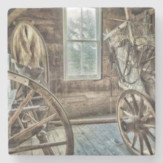 Covered wagon, wooden wagon wheel stone coaster