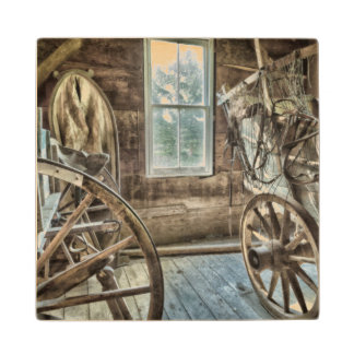 Covered wagon, wooden wagon wheel wood coaster