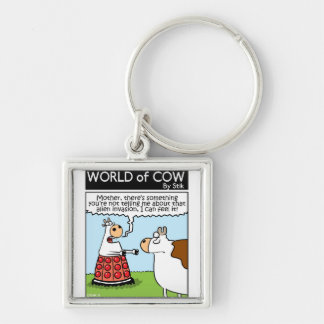 Cow Invaded Silver-Colored Square Key Ring