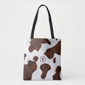Cow Print Cowhide Faux Western Leather Monogram Tote Bag