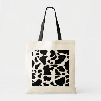 Cow print design, black and white budget tote bag